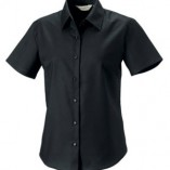 Kurzärmelige Oxford-Bluse Black