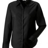 Langärmelige Oxford-Bluse Black