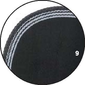 9 – Schwarz – Borte Grau mit Weiß